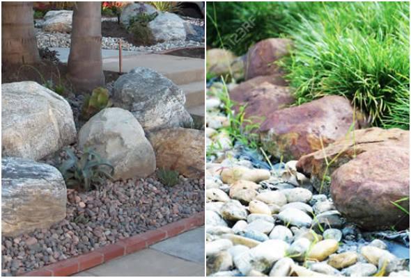 Decoração para jardim com pedras grandes