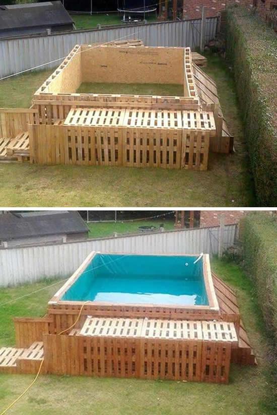 Projeto de piscina com pallets de madeira