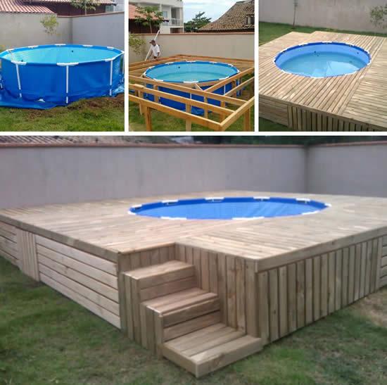 Projetos de piscina com pallets de madeira