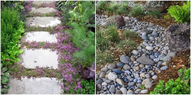 Caminhos de jardim com pedras
