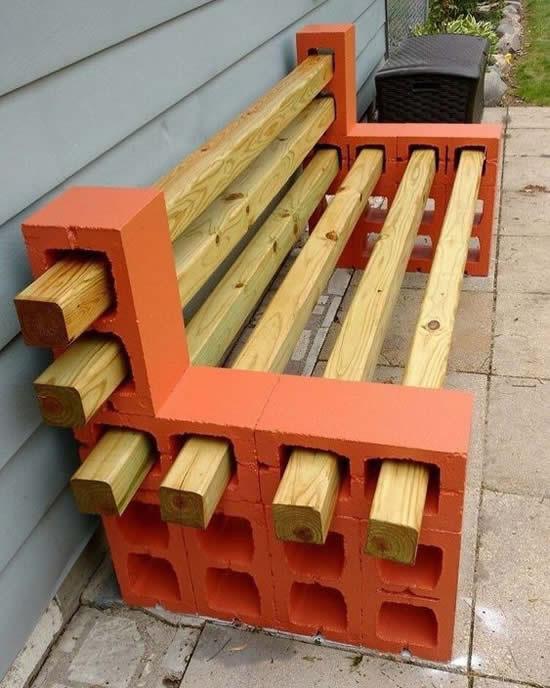 Decoração de jardim com blocos de cimento