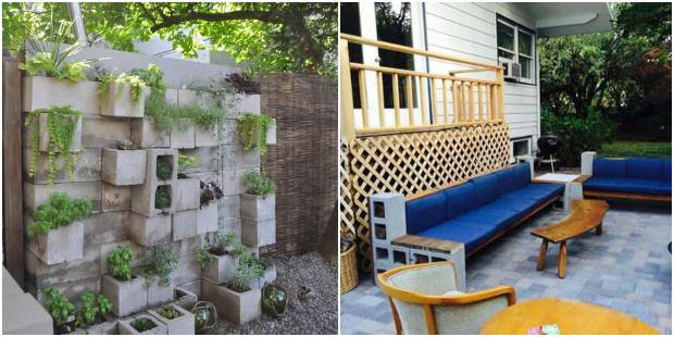 Como decorar o jardim com blocos de cimento