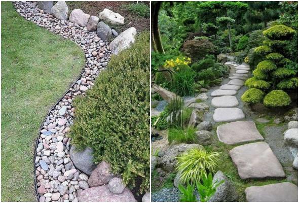 Decorando o jardim com pedras