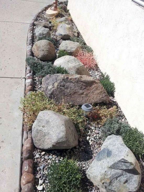Decoração e enfeites para jardim com pedras rústicas