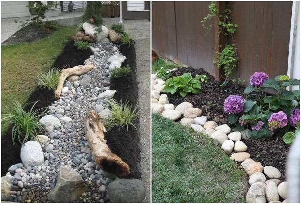 Decoração para jardim com pedras rústicas