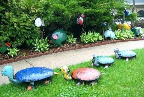 Enfeites criativos para jardim