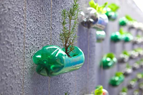 Decoração com garrafas para jardim