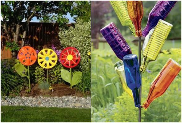 Decoração de jardim com material reciclado