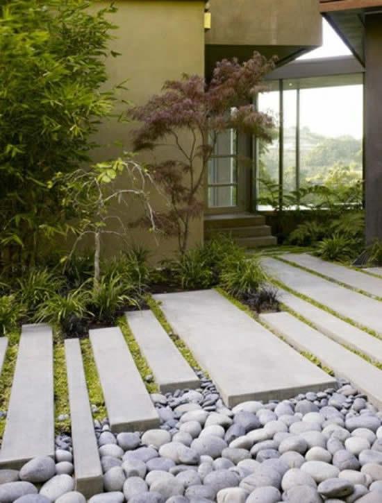 Decoração com pedras brancas para jardim
