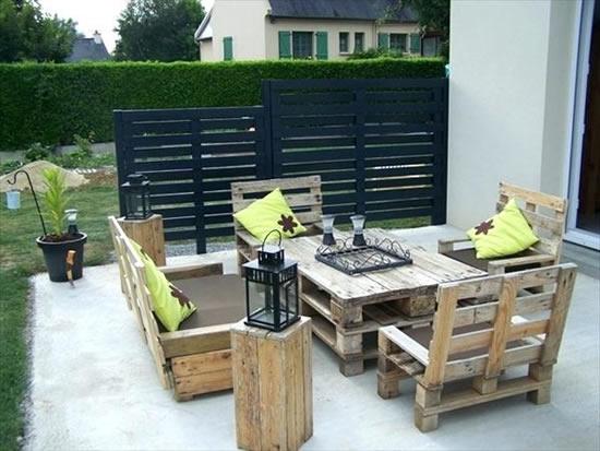 Decoração linda para terraço com pallets