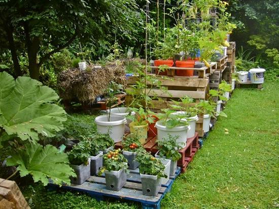 Enfeites com paletes e caixotes para jardim