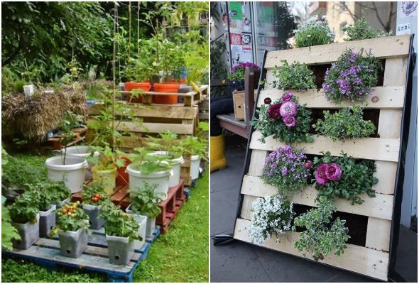 Decoração com paletes e caixotes para jardim