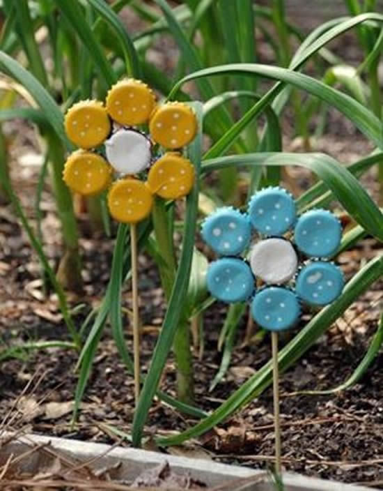 Flores para enfeite de jardim com reciclagem