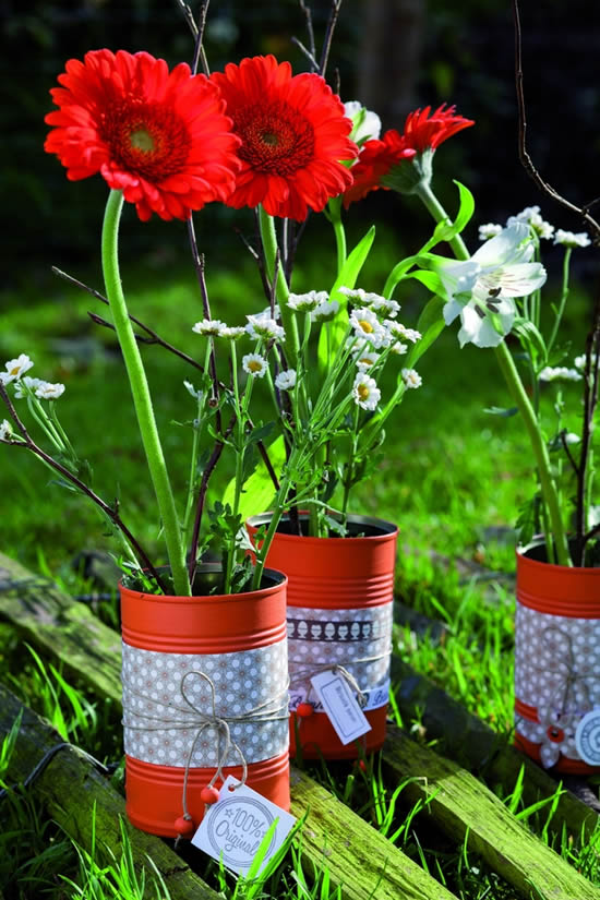 Vasos de lata para o jardim