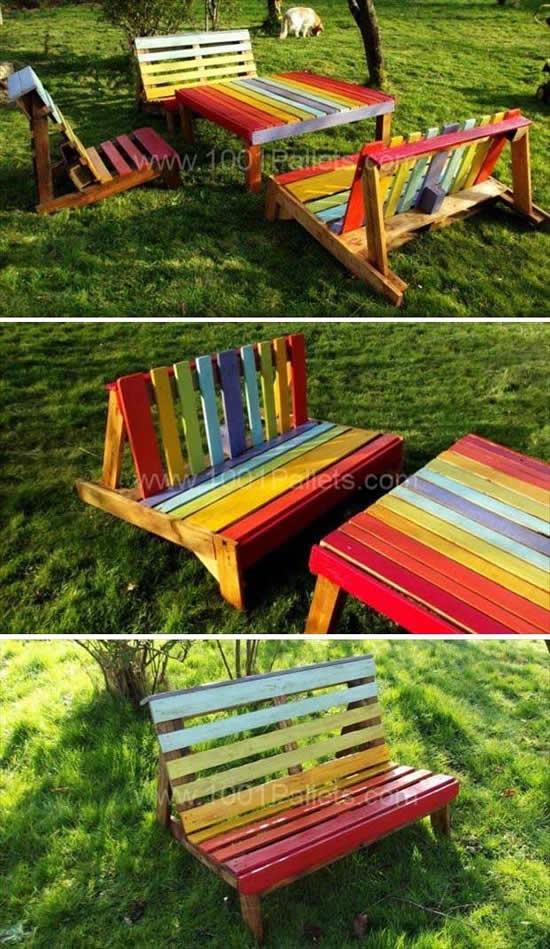 Mesa de Pallets coloridos para decoração