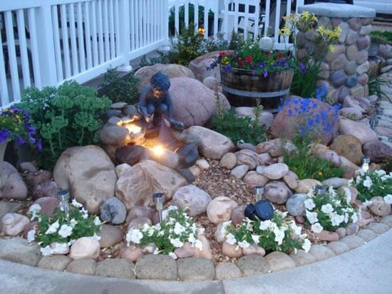 Decoração de pedras para o jardim
