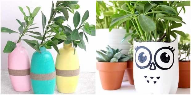 Vasos feitos com plásticos reciclados